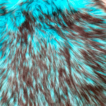 Turquoise Blue Black Husky Print Long Pile Shaggy Faux Fur Fabric - Fashion Fabrics LLC