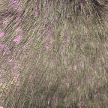 Plum Purple Black Husky Print Long Pile Shaggy Faux Fur Fabric - Fashion Fabrics LLC