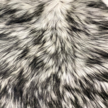White Black Husky Print Long Pile Shaggy Faux Fur Fabric - Fashion Fabrics LLC