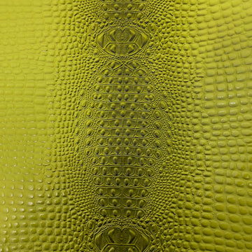 Lime Green Aussie 3D Embossed Gator Vinyl Fabric - Fashion Fabrics LLC