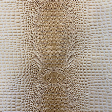 Light Beige Aussie 3D Embossed Gator Vinyl Fabric - Fashion Fabrics LLC