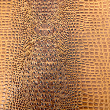 Gingerbread Brown Aussie 3D Embossed Gator Vinyl Fabric - Fashion Fabrics LLC
