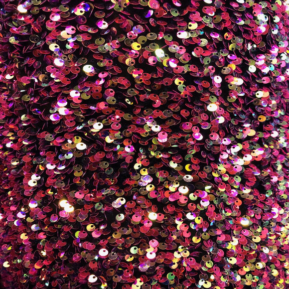 Rainbow Iridescent Sequins Embroidered Stretch Velvet Rodeo Fabric