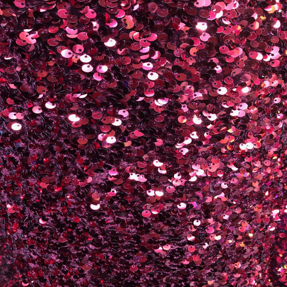 Burgundy Sequins Embroidered Stretch Velvet Rodeo Fabric