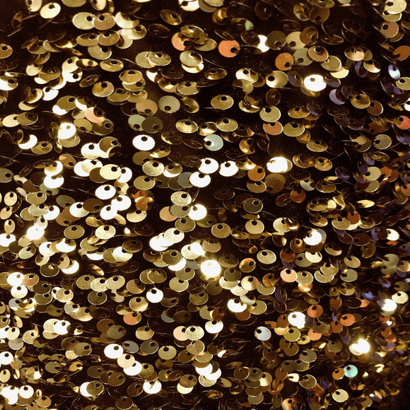 Gold Sequins Embroidered Stretch Velvet Rodeo Fabric