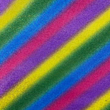 Rainbow Stripe Hologram Foil Spandex Fabric - Fashion Fabrics LLC