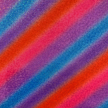 Pink Royal Blue Orange Stripe Hologram Foil Spandex Fabric - Fashion Fabrics LLC
