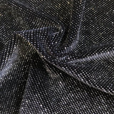 Silver Sparkle Glitter Lurex Stretch Velvet Fabric - Fashion Fabrics Los Angeles