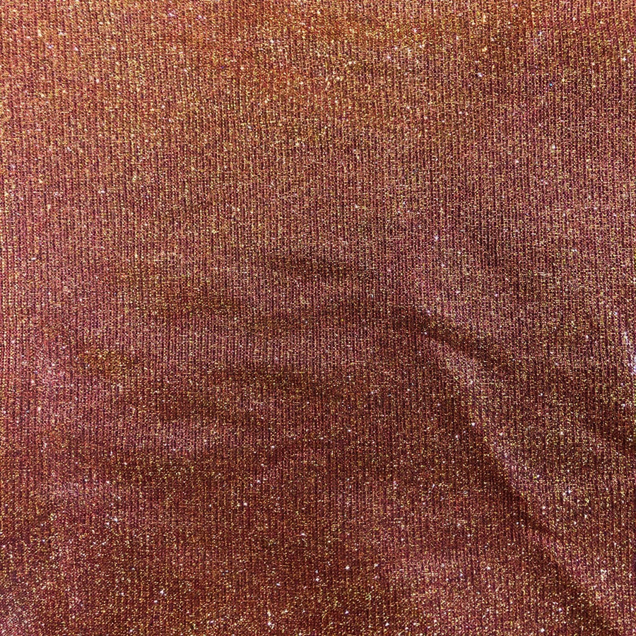 Red Gold Holographic Shimmer Glitter Spandex Fabric - Fashion Fabrics Los Angeles