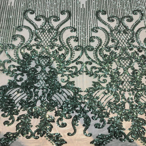 Hunter Green Alta Striped Damask Sequins Lace Fabric - Fashion Fabrics Los Angeles
