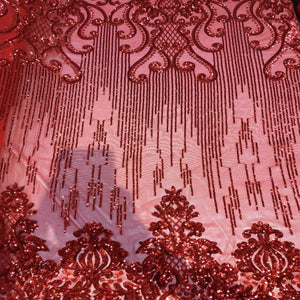 Red Alta Striped Damask Sequins Lace Fabric - Fashion Fabrics Los Angeles