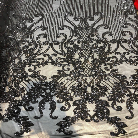Black Alta Striped Damask Sequins Lace Fabric - Fashion Fabrics Los Angeles