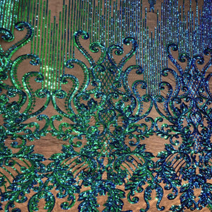 Green Iridescent Alta Striped Damask Sequins Lace Fabric