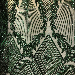 Hunter Green Alpica Sequins Lace Fabric