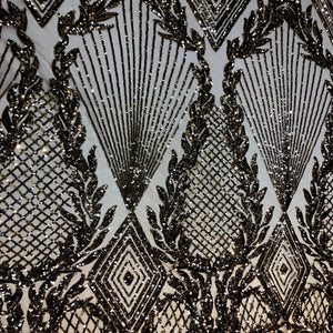 Black Nude Mesh Alpica Sequins Lace Fabric - Fashion Fabrics Los Angeles