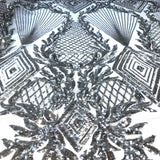 Silver Alpica Sequins Lace Fabric - Fashion Fabrics Los Angeles