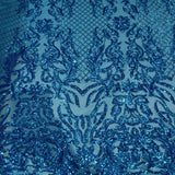 Turquoise Blue Luna Stretch Sequins Lace Fabric