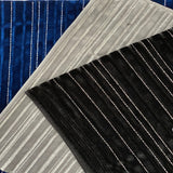 Royal Blue Silver Embroidered Metallic Stripe Stretch Velvet Fabric - Fashion Fabrics Los Angeles