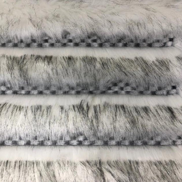 Black White Husky Striped Checkered Faux Fur Fabric - Fashion Fabrics Los Angeles
