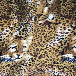 Leopard Face Print Fleece Fabric