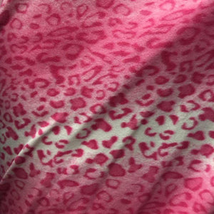 Pink Snow Leopard Print Fleece Fabric