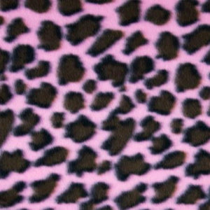 Pink Brown Leopard Print Fleece Fabric