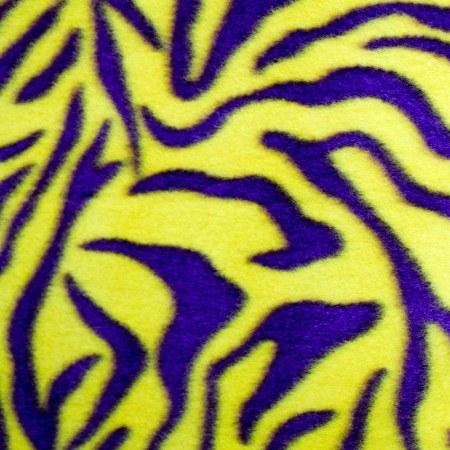 Purple | Yellow Zebra Print Fleece Fabric - Fashion Fabrics Los Angeles