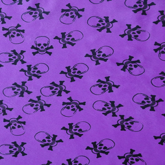 Purple Velboa Skull Print Faux Fur Fabric