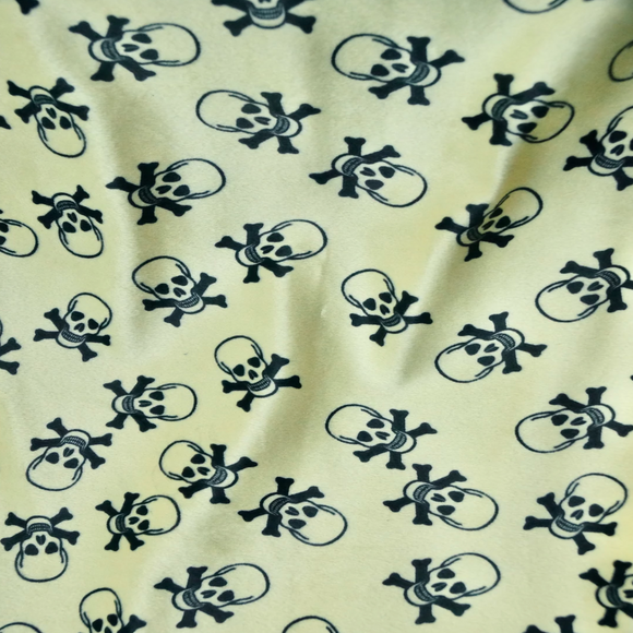 Banana Yellow Velboa Skull Print Faux Fur Fabric