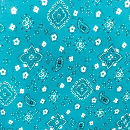 Aqua Blue Bandanna Print Poly Cotton Fabric - Fashion Fabrics Los Angeles