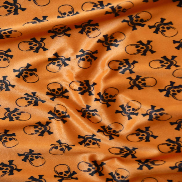 Orange Velboa Skull Print Faux Fur Fabric