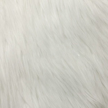 White Luxury Long Pile Shaggy Faux Fur Fabric - Fashion Fabrics Los Angeles