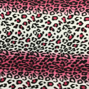White Pink Leopard Print Fleece Fabric