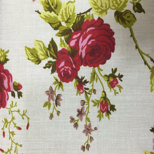 White Red Rose Floral Print Poly Cotton Fabric