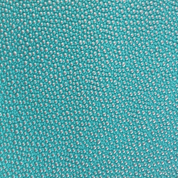 Turquoise Silver Pebbled Dotted Vinyl Fabric