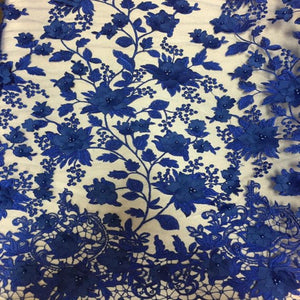 Royal Blue 3D Embroidered Satin Floral Pearl Lace Fabric