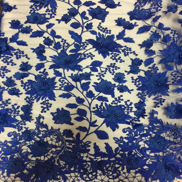 Royal Blue 3D Embroidered Satin Floral Pearl Lace Fabric - Fashion Fabrics Los Angeles