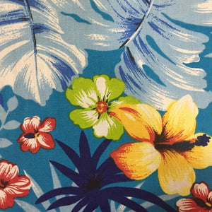 Aqua Hawaiian Print Poly Cotton Fabric - Fashion Fabrics Los Angeles