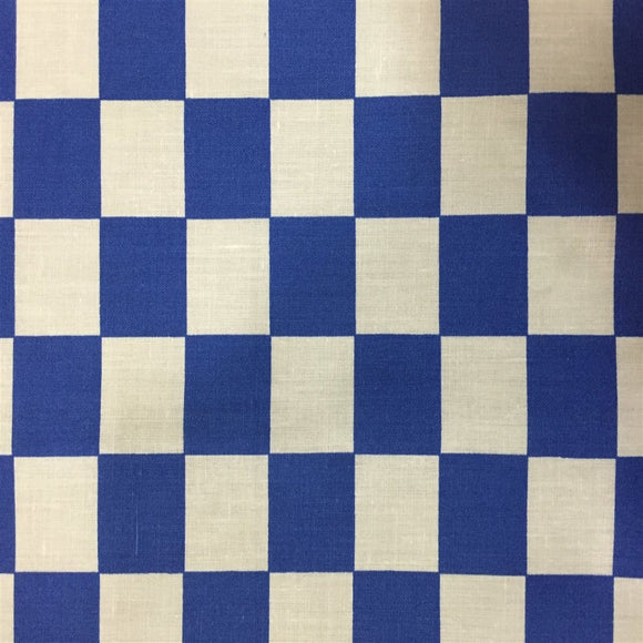 Blue White Checkered Poly Cotton Fabric - Fashion Fabrics Los Angeles