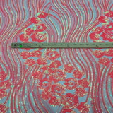 Hologram Green Jennifer Rose Floral Flame Sequin Lace Fabric - Fashion Fabrics Los Angeles