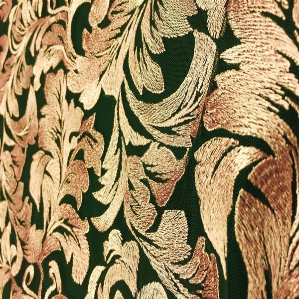 Gold Ashlee Floral Lace Fabric