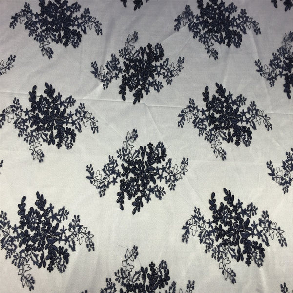 Navy Oswald Embroidered Lace Fabric - Fashion Fabrics Los Angeles
