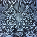 Navy Chantal Deluxe Sequins Lace Fabric - Fashion Fabrics Los Angeles