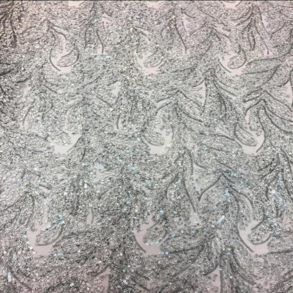 Gray Cozy Pop Thread Floral Sequins Lace Fabric - Fashion Fabrics Los Angeles