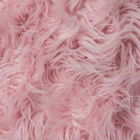 Pink Mongolian Long Pile Faux Fur Fabric - Fashion Fabrics Los Angeles