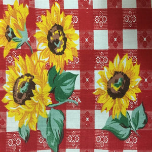 Red Plaid Daisy Print Poly Cotton Fabric