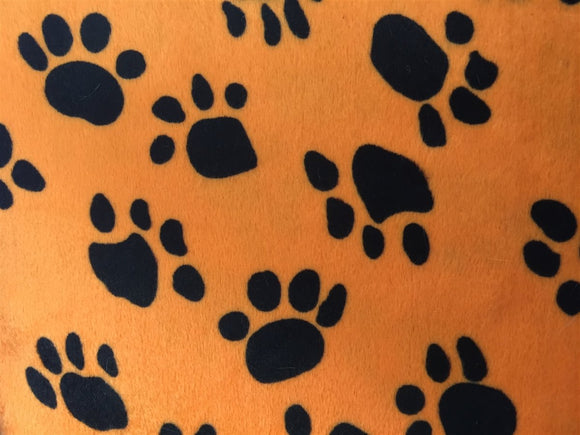 Orange Black Puppy Paw Print Faux Fur - Fashion Fabrics Los Angeles