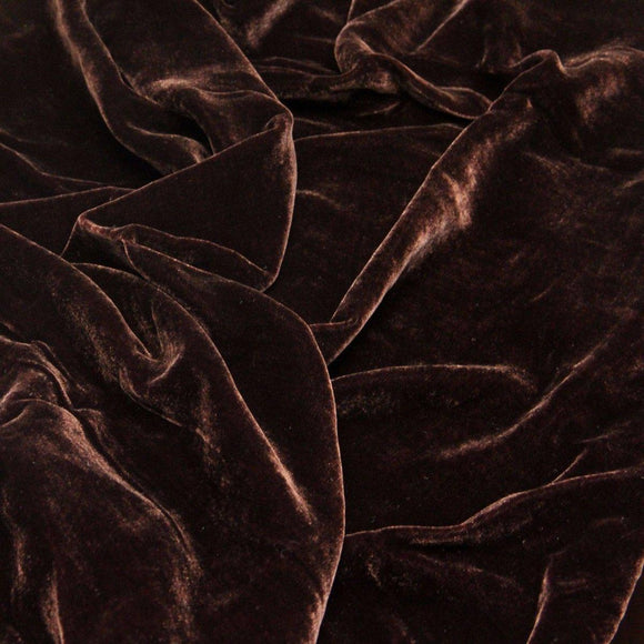Dark Brown Silk Velvet Fabric - Fashion Fabrics Los Angeles