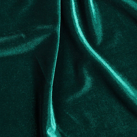Hunter Green Stretch Velvet Apparel Spandex Fabric - Fashion Fabrics Los Angeles