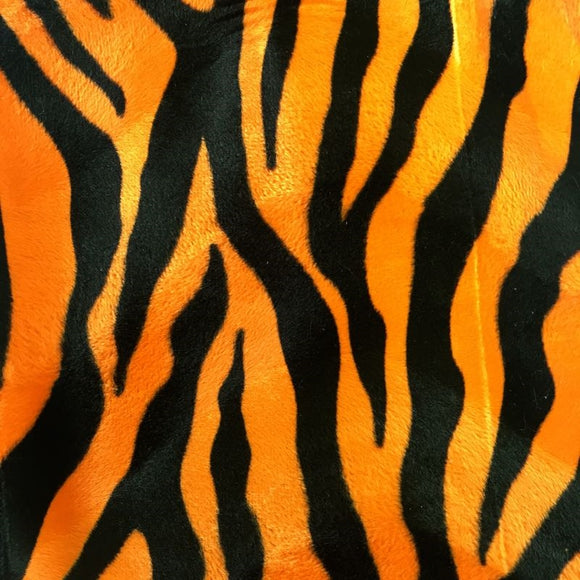 Orange Big Zebra Velboa Faux Fur Fabric - Fashion Fabrics Los Angeles